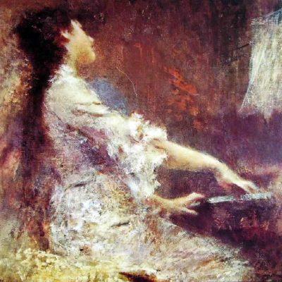 Il pittoreTranquillo Cremona incarna in questa tela l'azione dinamica di una pianista immersa nel'esecuzione di una melodia. Contrasto seducente di colori dell'abito bianco avvolto dal rosso. Tecnica: olio su tela, 115 x 129 cm , 115 x 129 cm